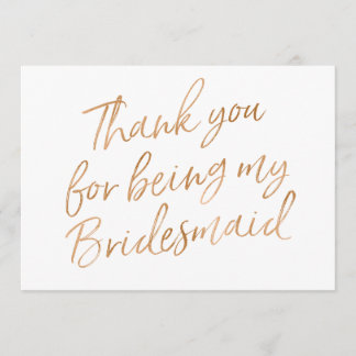 """Gold Rose """"Thank you for being bridesmaid"""" Thank You Card"""