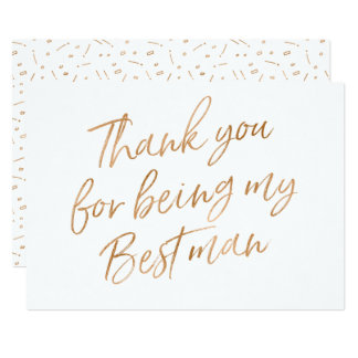 """Gold Rose """"Thank you for being my best man"""" Card"""