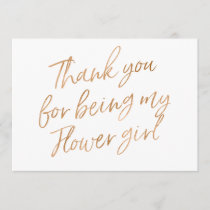 "Gold Rose ""Thank you for being my flower girl"" Thank You Card"