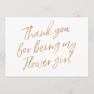 """Gold Rose """"Thank you for being my flower girl"""" Thank You Card"""