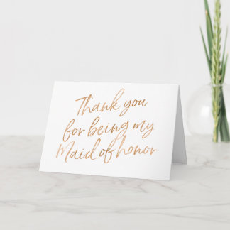 "Gold Rose ""Thank you for being my maid of honor"" Thank You Card"