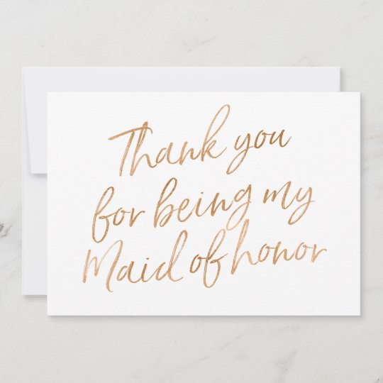 Gold Rose Thank You For Being My Maid Of Honor Thank You Card