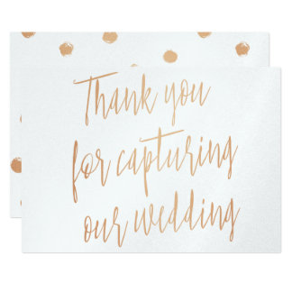 "Gold Rose ""Thank you for capturing our wedding"" Card"