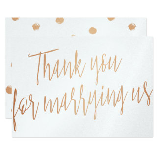 """Gold Rose """"Thank you for marring us"""" Card"""