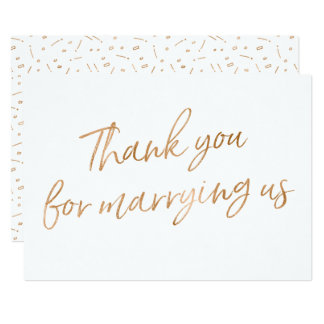 "Gold Rose ""Thank you for marrying us"" Card"