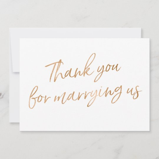 Gold Rose Thank You For Marrying Us Thank You Card