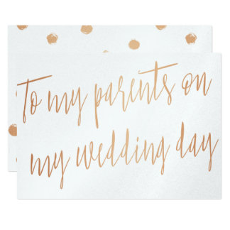 """Gold Rose """"To my parents on my wedding day"""" Card"""