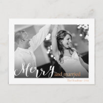"Gold Rose Typography ""merry and married"" photo Holiday Postcard"