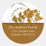 Gold Rose Vine Design - Return Address Labels Classic Round Sticker