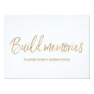 """Gold Rose Wedding """"Build memories"""" Jenga Sign Card"""