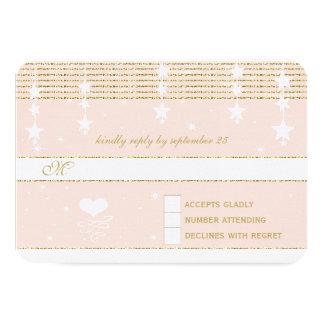 Gold Rose Wedding Under the Stars RSVP Card
