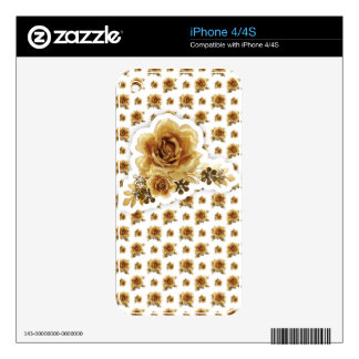 Gold Rose with Golden Delicious flowers Pattern Decal For iPhone 4