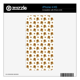 Gold Rose with Golden Delicious flowers Pattern iPhone 4 Decal