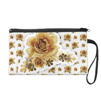 Gold Rose with Golden Delicious flowers Pattern Wristlet Purse