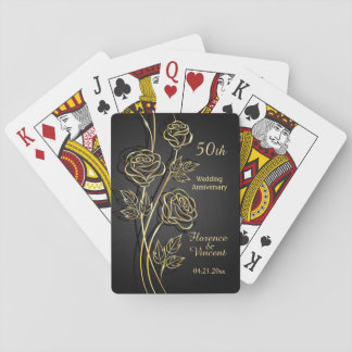 Gold roses 50th Anniversary Playing Cards