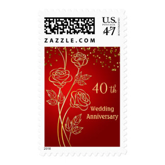 Gold roses, confetti on red 40th Anniversary Postage