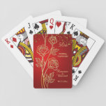 "Gold roses, confetti on red 50th Anniversary Playing Cards<br><div class=""desc"">Golden roses and confetti on a red background 50th Wedding Anniversary Playing Cards</div>"