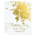 Gold Roses Faux Foil Elegant Floral Birthday Party Card