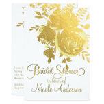 Gold Roses Faux Foil Elegant Floral Bridal Shower Card
