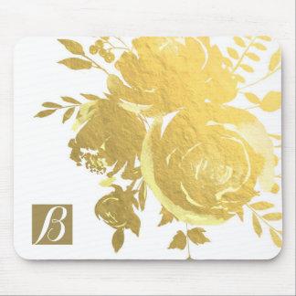 Gold Roses Faux Foil Elegant Modern Floral Glam Mouse Pad
