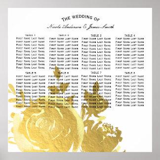 Gold Roses Faux Foil Elegant Modern Floral Seating Poster