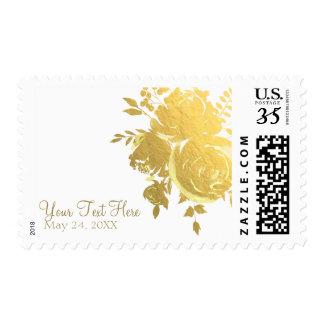 Gold Roses Faux Foil Elegant Modern Floral Wedding Postage