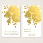 Gold Roses Faux Foil Elegant Modern Refer a Friend Business Card