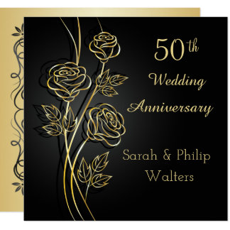 Gold roses on black 50th Anniversary Card