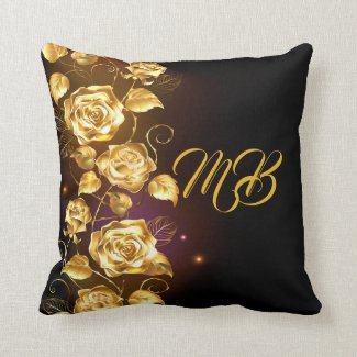 Gold roses on black and purple monogrammed pillow