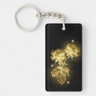 Gold Roses on Black Keychain