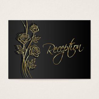 Gold roses on black Wedding Reception Business Card