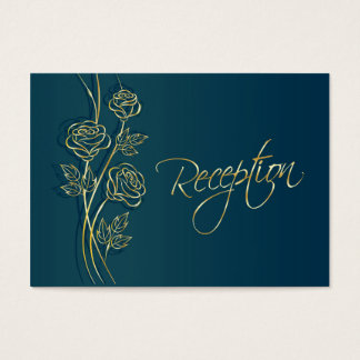 Gold roses on green blue Wedding Reception Business Card