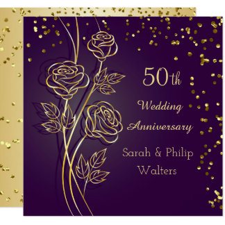 Gold roses on purple, confetti 50th Anniversary Card