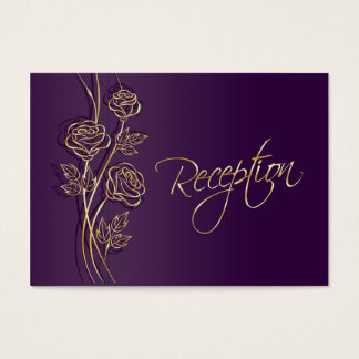 Gold roses on purple Wedding Reception Business Card