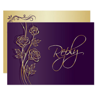 Gold roses on purple Wedding RSVP Card