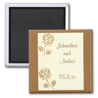 Gold Roses Save the date Wedding Magnets