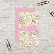 Gold Roses with Pink Business Card