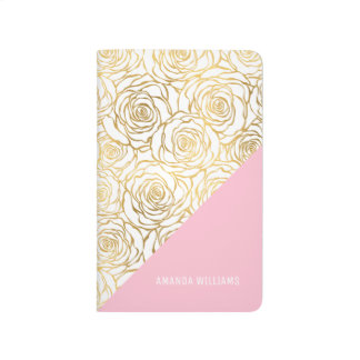 Gold Roses with Pink Journal