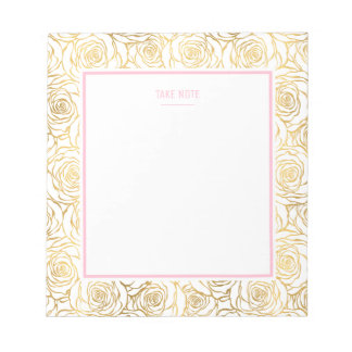 Gold Roses with Pink Notepad