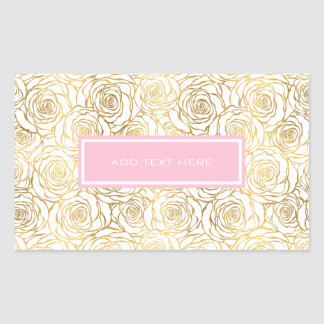 Gold Roses with Pink Rectangular Sticker