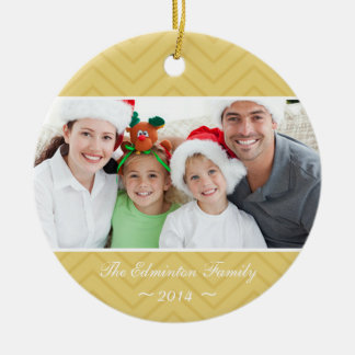 Gold Round Family Custom Photo Christmas Ornament