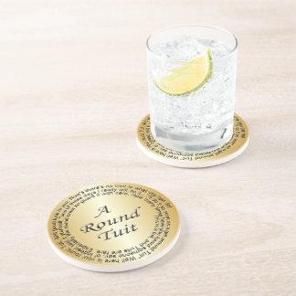 Gold Round Tuit Beverage Coaster