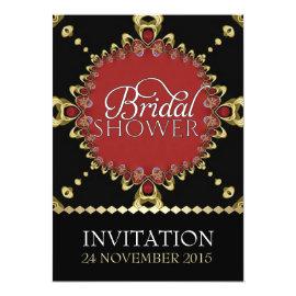 Gold Royal Black Red Bridal Shower Invitations