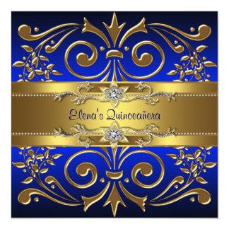Gold Royal Blue Quinceanera Invitations