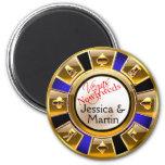 Gold & Royal Blue Vegas Casino Chip Favor Fridge Magnet