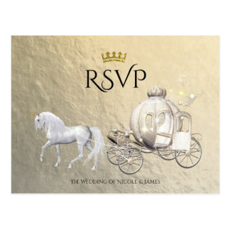 Gold Royal Princess Storybook Carriage RSVP Postcard