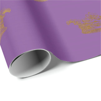 Gold Royal Purple Lavender Crown Heraldic Prince Wrapping Paper