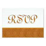 Gold RSVP Damask Wedding C116 3.5x5 Paper Invitation Card