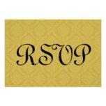 Gold RSVP Damask Wedding S210 Custom Invite