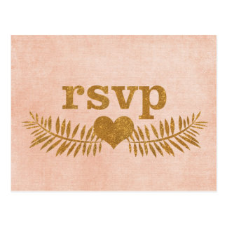 Gold RSVP Heart Coral Wreath Postcard
